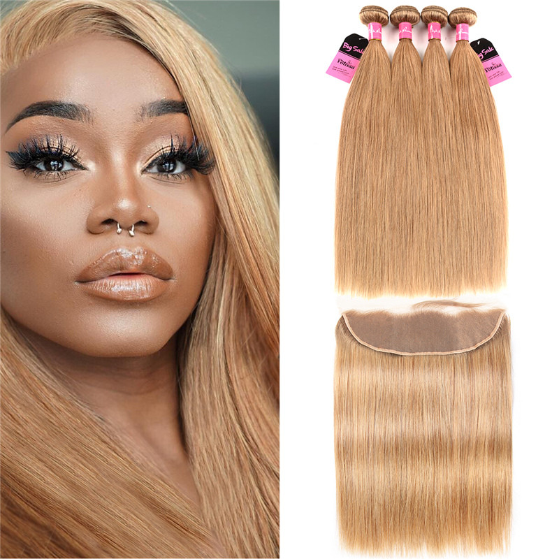 27 Hair Color 4 Bundles With Fronal 134 Deal Straight Honey Blonde