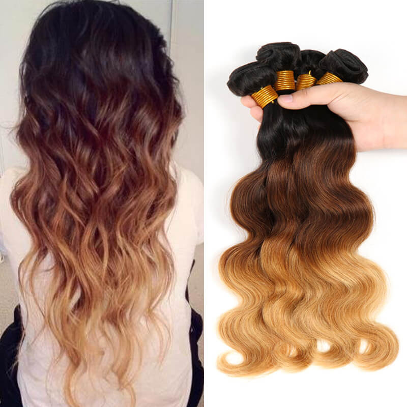 4 Bundles Body Wave Ombre Human Hair Weaves 1b427 Hair Color