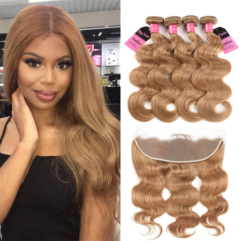 27 body wave 4 bundles with frontal. 4 Bundles Body Wave Honey Blonde ... cefc593f0