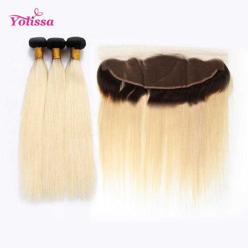 1b613 Ombre Blonde Straight Hair With Dark Roots 3 Bundles With