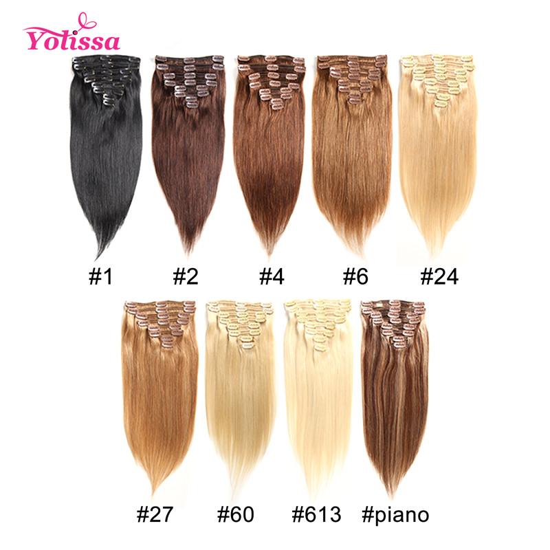 10 22inches Clip In Straight Human Virgin Hair Extensions Yolissa Hair