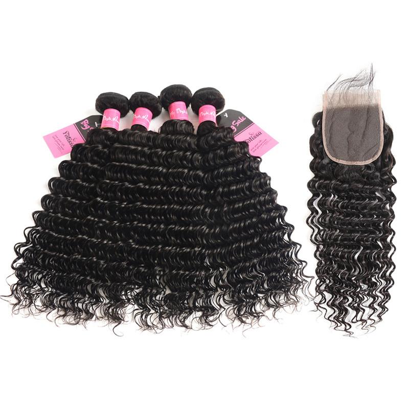 Deep Wave Yolissa Virgin Hair 4 Bundles Brazilian Hair Weaves With 4