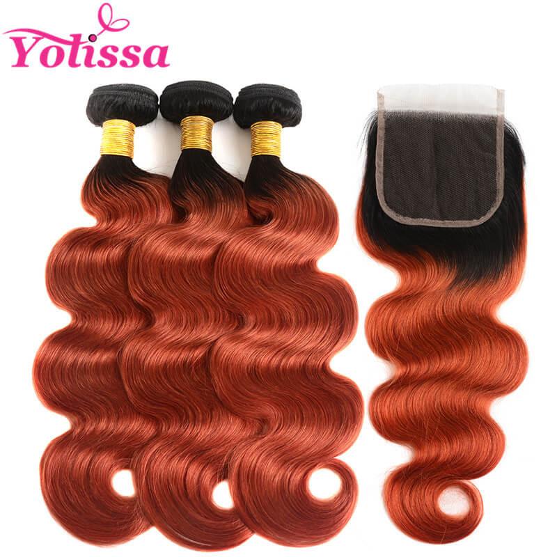 Brazilian Hair 1b350 Body Wave 3 Bundles With Closure 44 Yolissa Hair