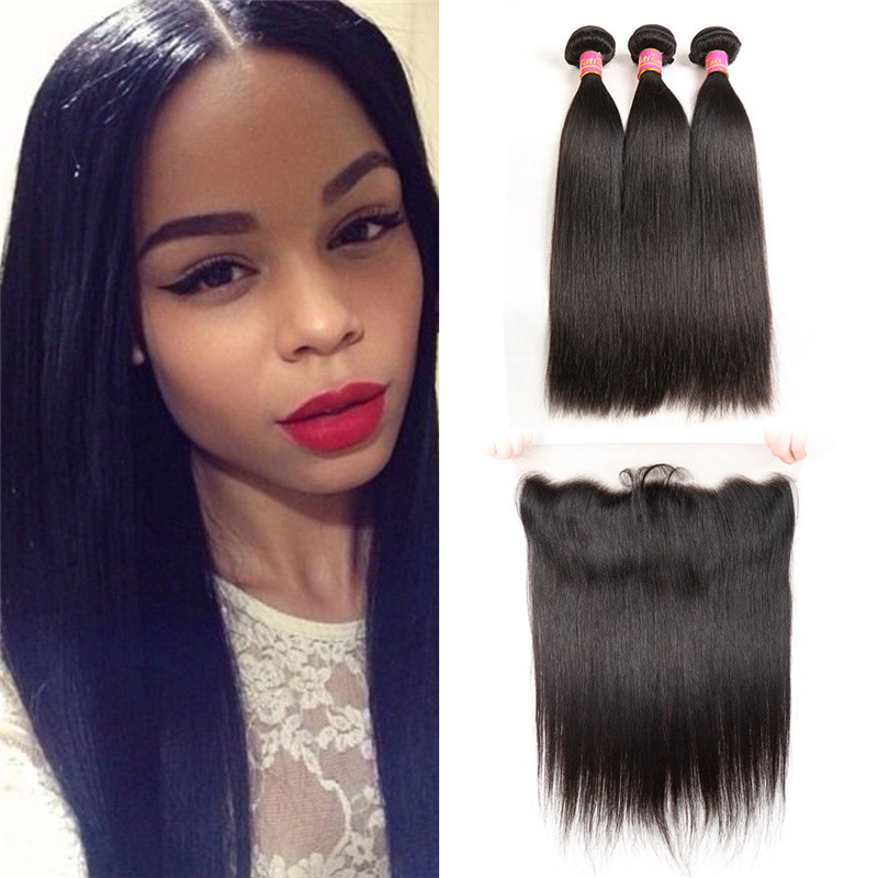 Lace Frontal With 3pcs Straight Virgin Brazilian Yolissa Hair