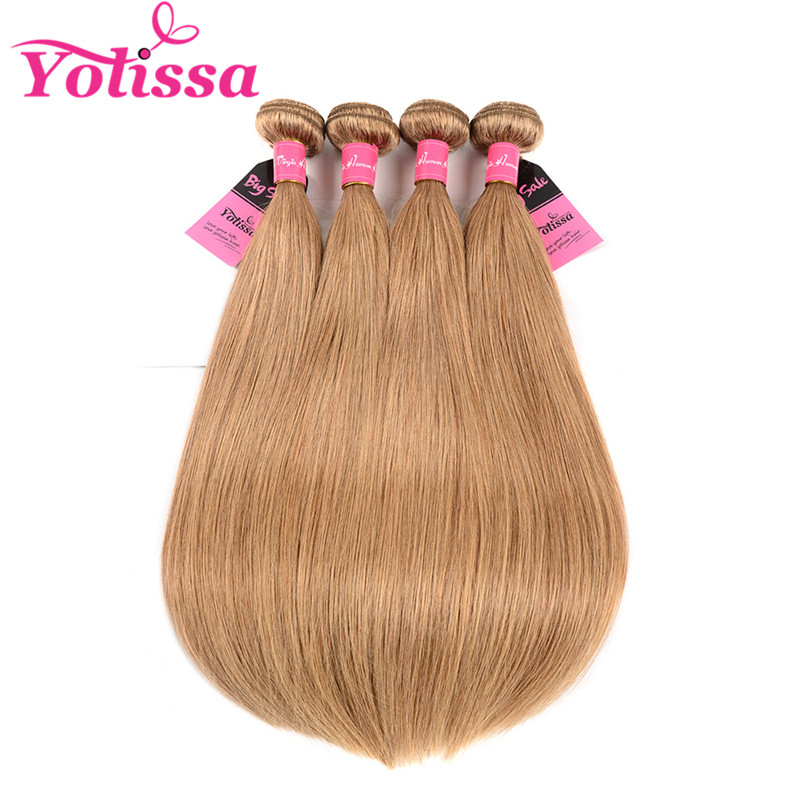 4 Bundles Straight Honey Blonde 27 Hair Color Weaves Yolissa Hair