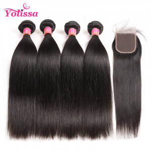 Human Virgin Straight Brazilian Hair 4 Bundles
