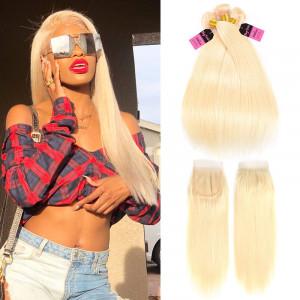 613 Straight Human Hair 3 Bundles with Closure