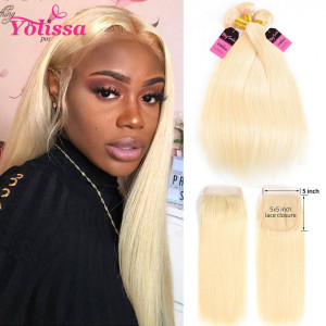 613 Blonde Hair Bundles With Closure 5*5