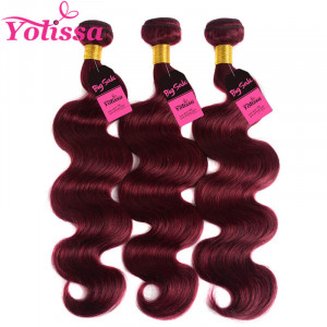 Burgundy body wave bundles