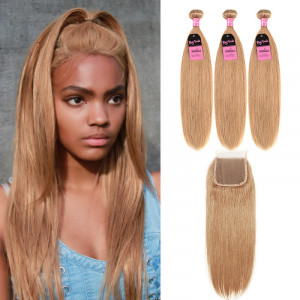 #27 honey blonde straight 3 bundles with closure