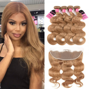 #27 body wave 4 bundles with frontal