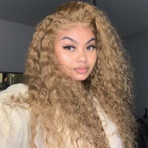 #27 honey blonde water wave wigs