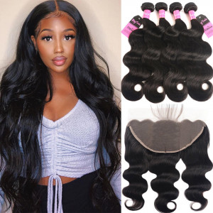 body wave bundles with 13*6 frontal
