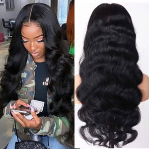 Body Wave Human Hair 24-40Inch Long Lace Front Wigs Pre-plucked With Baby Hair