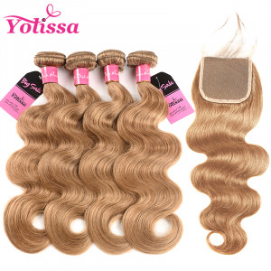 Honey Blonde Body Wave 4 Bundles With Closure