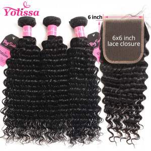 deep wave 3 bundles with closure 6*6