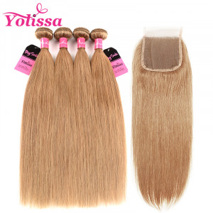 Honey Blonde Camarel Straight Hair 4 Bundles With Closure
