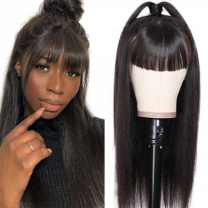 straight lace front wigs with bangs