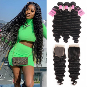 loose deep 3 bundles with closure