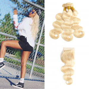 613 Blonde Body Wave 3 Bundles With Closure