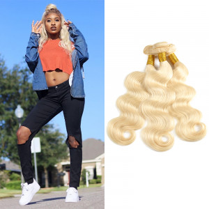 613 Platunum Blonde Hair 3 Bundles