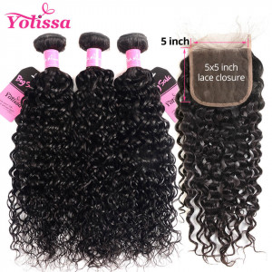 water wave 3 bundles with closure 5*5