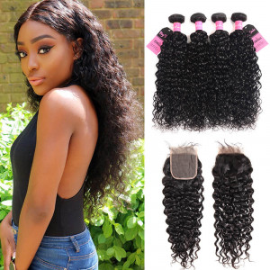 water wave 4 bundles with closure