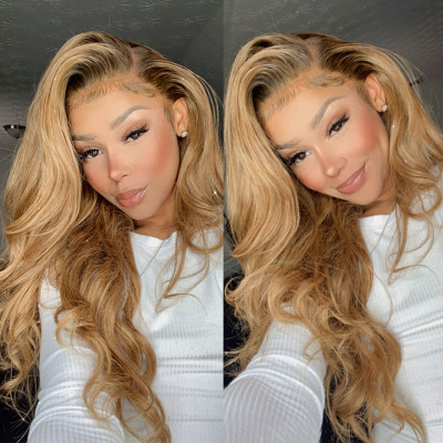 Body Wave #27 Honey Blonde Lace Front Wigs For Black Women 150%-200% Density