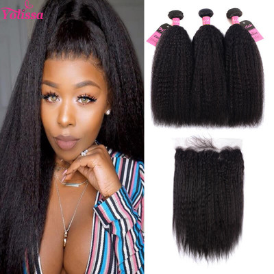 Yaki Straight 3 Bundles With 13*4 Frontal With Baby Hair For Women