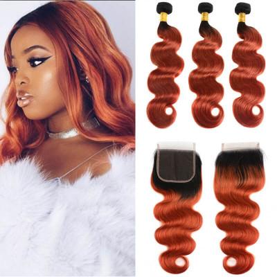 Brazilian Hair 1B/350 Body Wave & Straight 3 Bundles With Closure 4*4