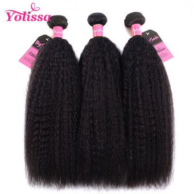 Yaki Hair Kinky Straight 3 Bundles Human Hair