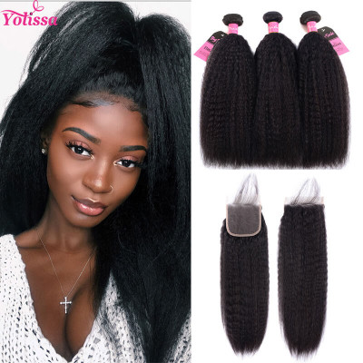 Kinky Straight Yaki Hair 3 Bundles With 4*4 Closure