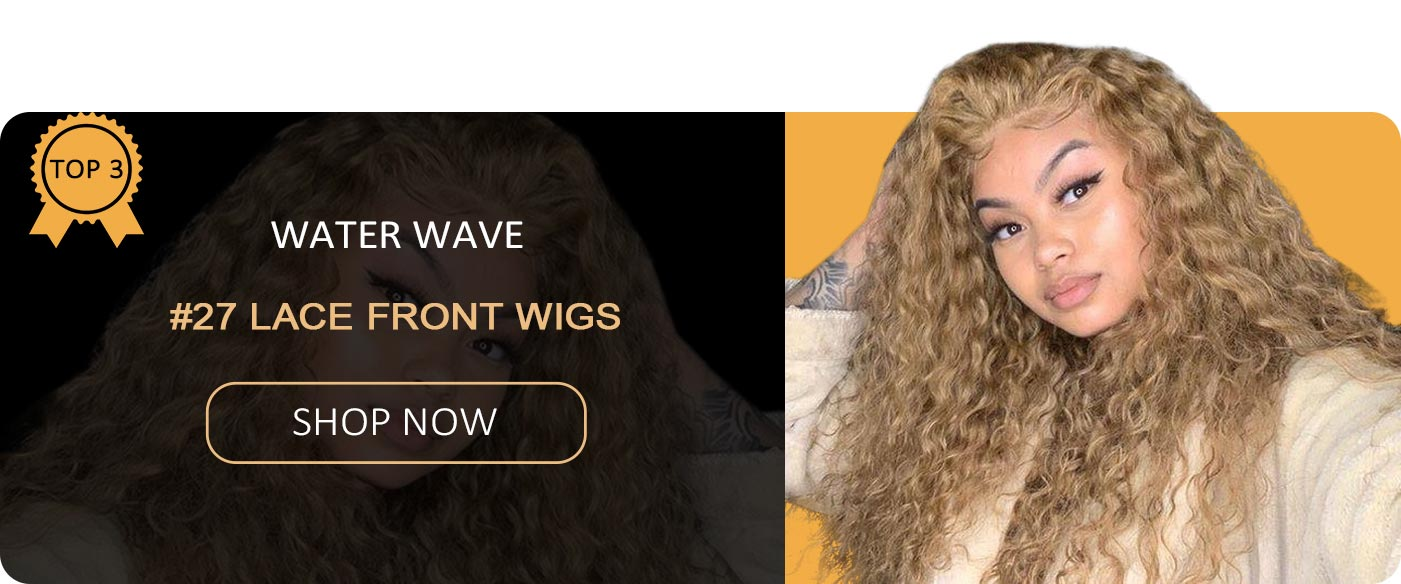#27 honey blonde water wave lace front wigs