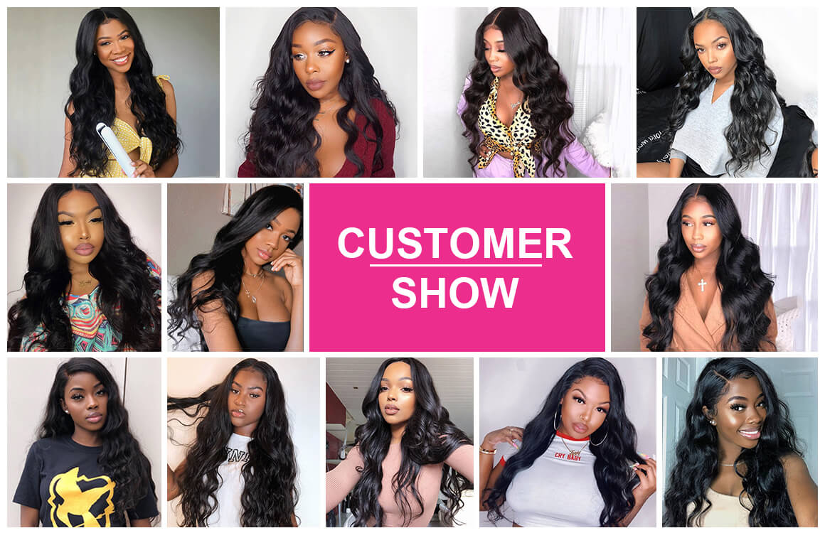 Yolissa Best Virgin Hair Body Wave Lace Frontal Closure with 4 Bundles