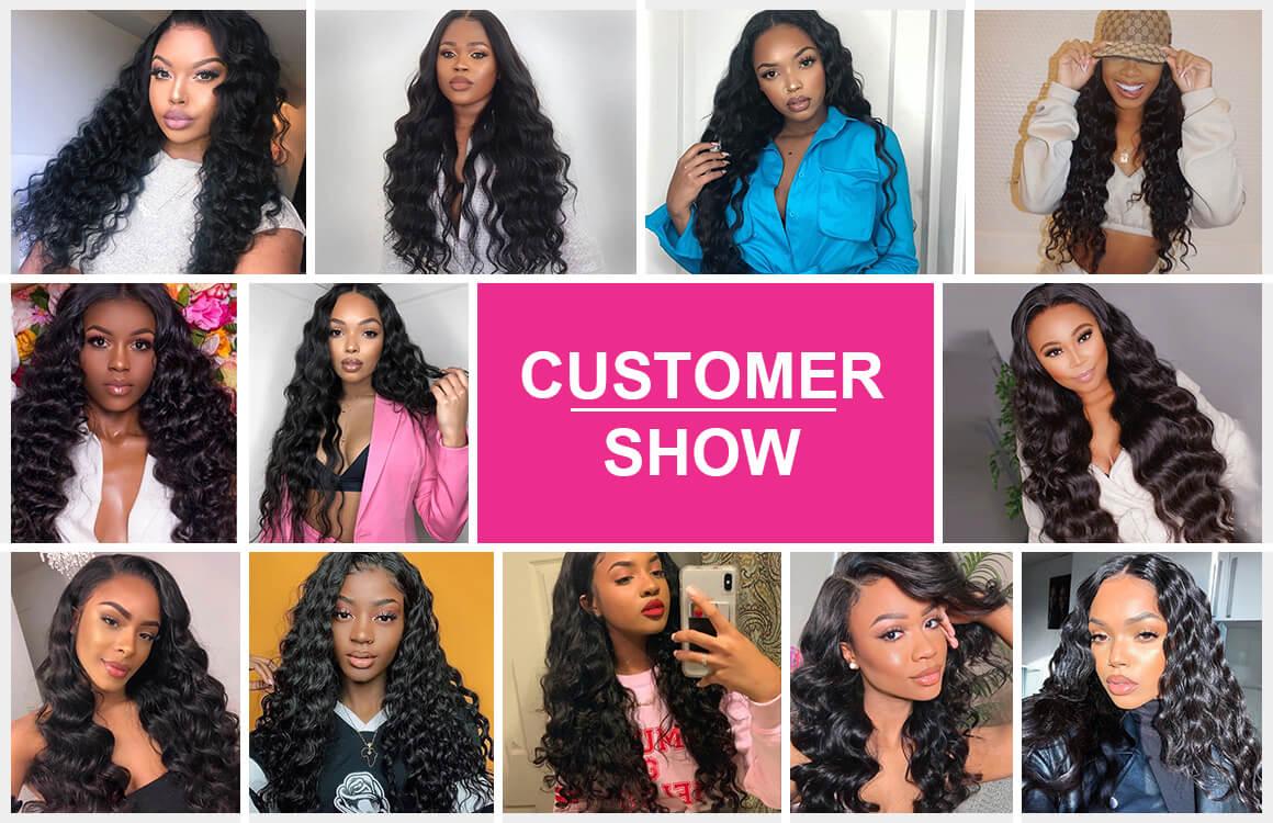 loose deep wave wig customer show
