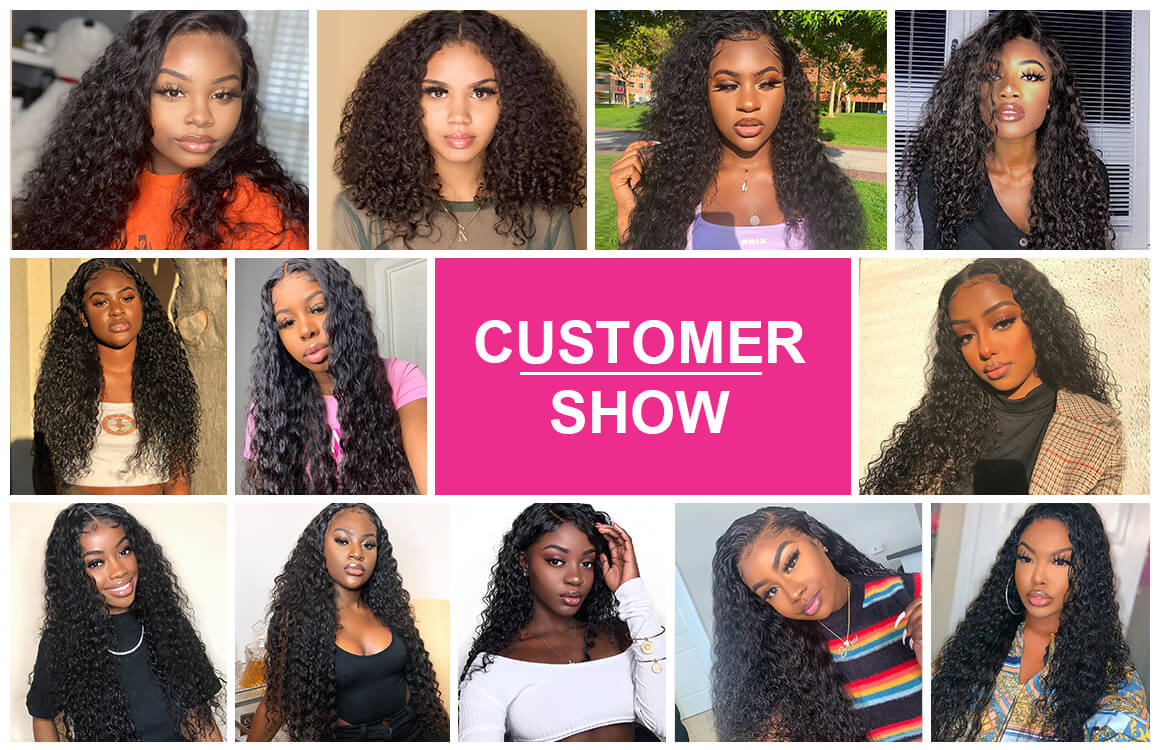 water wave wig customer show