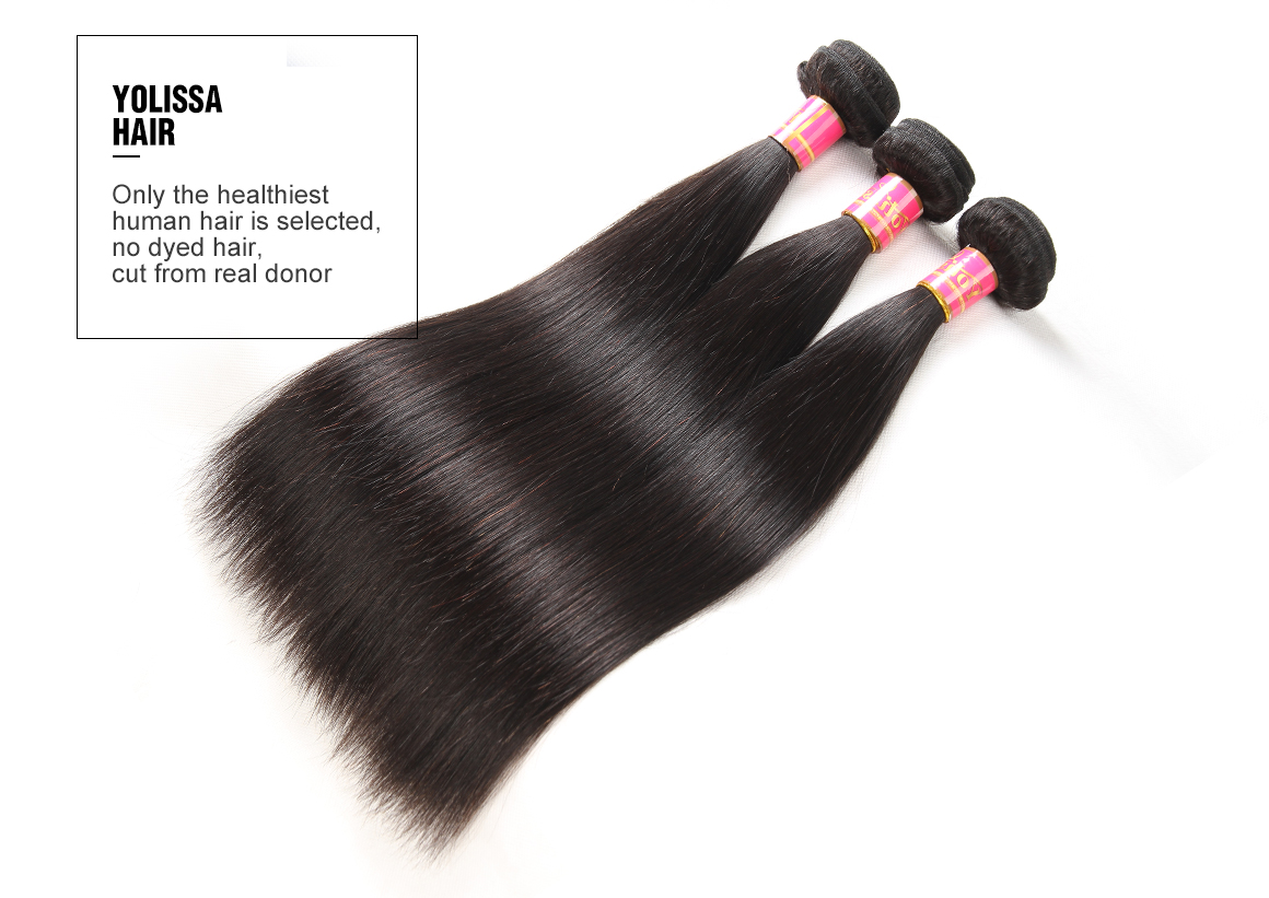 brazilian hair straight bundles with closure 5*5