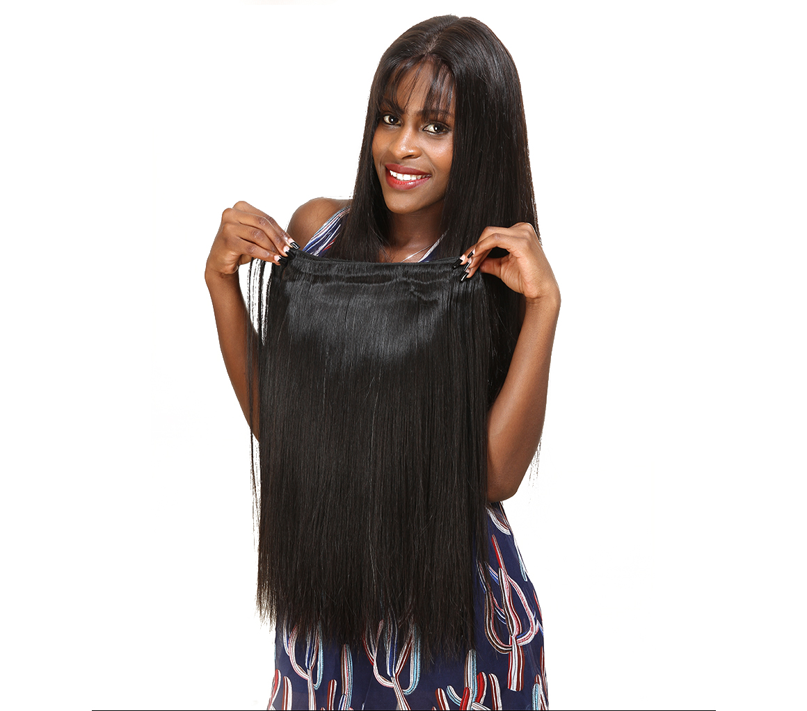 4 pieces  straight peruvian hair weave remy hair
