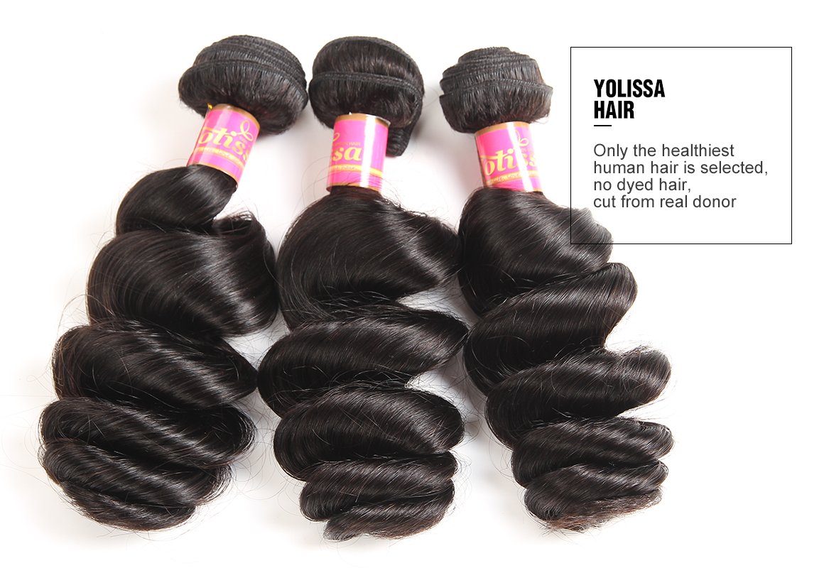 4 bundles loose wave brazilian hair weave real hair