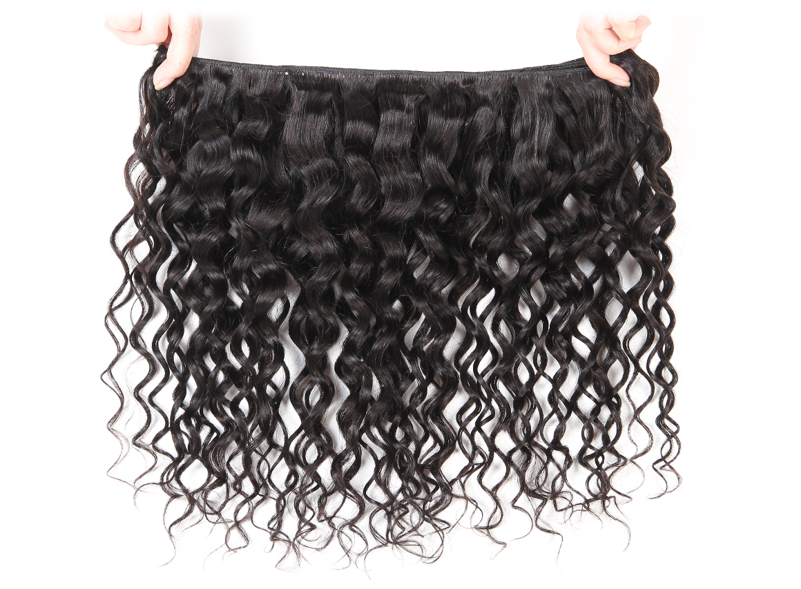 brazilian water wave hair bundles with swiss lace frontal