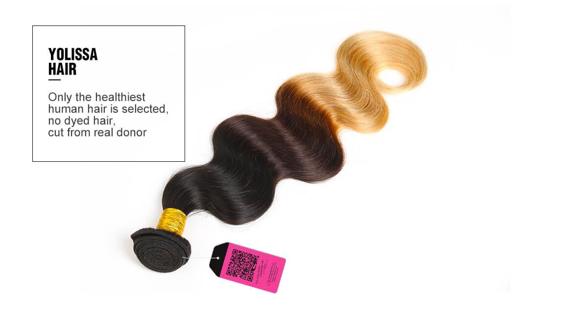 Brazilian 1B/4/27 Body Wave Virgin Hair 3 Bundles