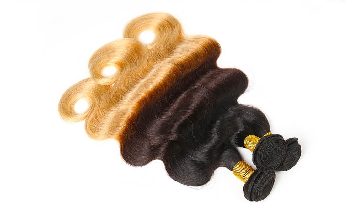 body wave 1B/4/27 human virgin hair 3 bundles
