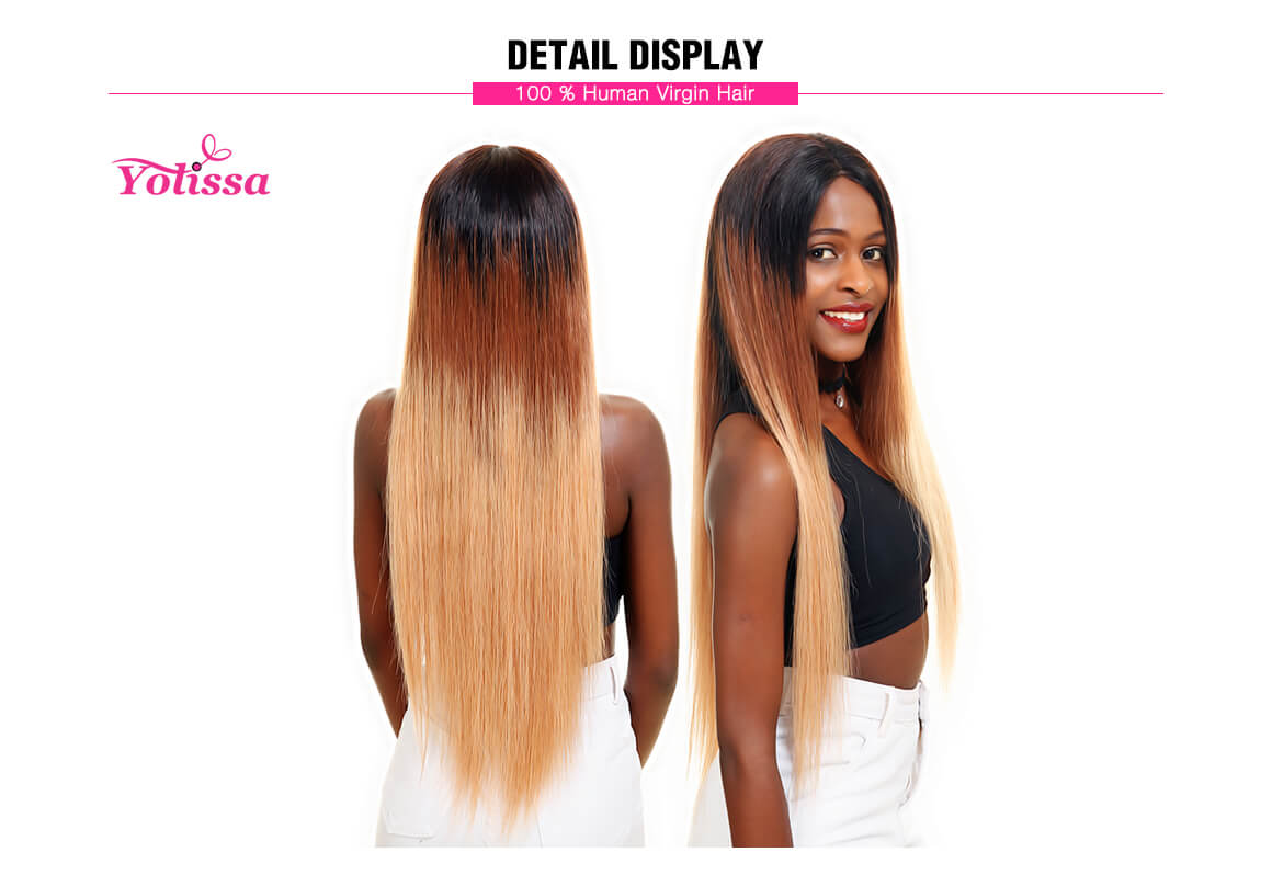 1B/4/27 Brazilian Straight Hair 3 Bundles