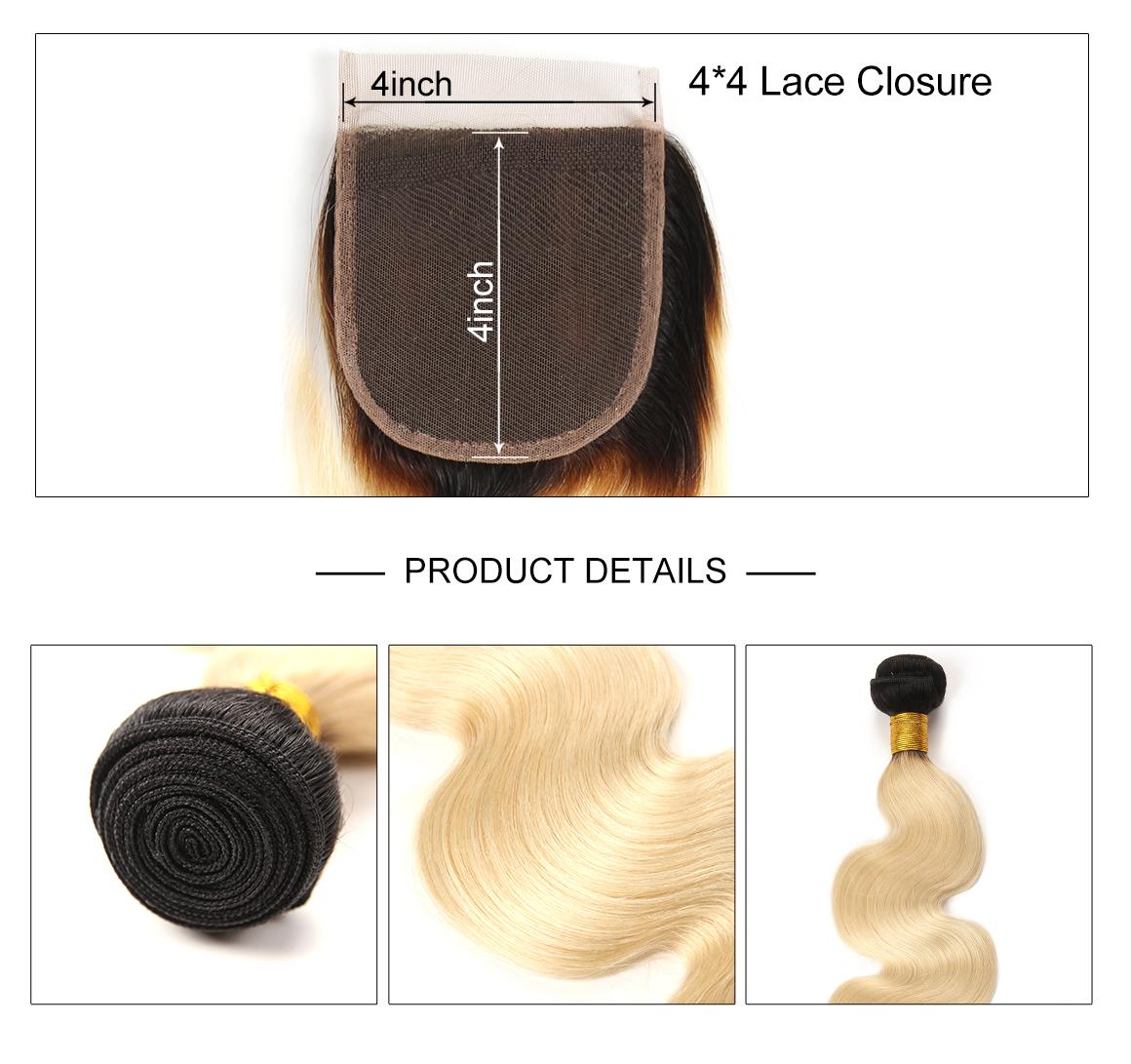 3 Bundles With Body Wave Lace Closure 4*4