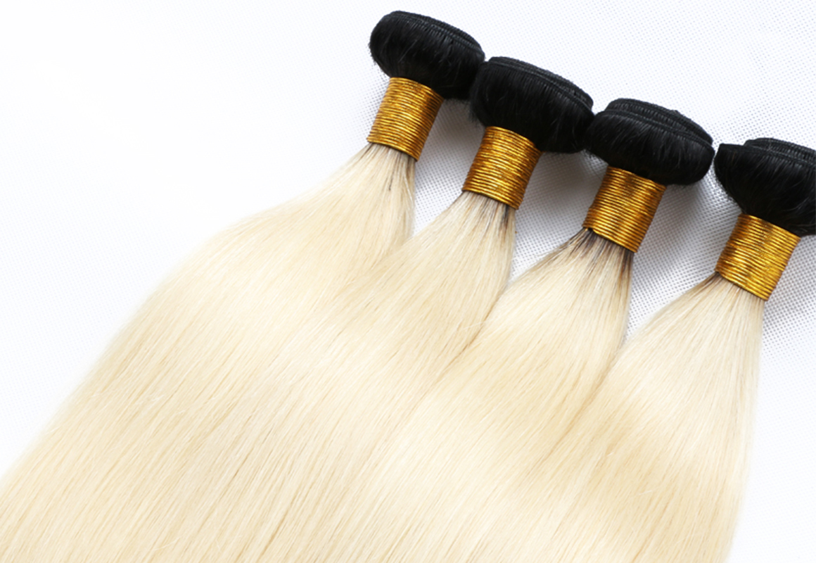 Ombre Blonde Hair With Dark Roots 4 Bundles Straight Human Hair