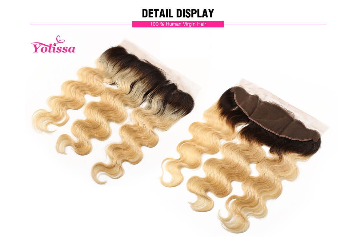 1B/613 Body Wave Lace Frontal Closure Human Hair Extensions 13*4