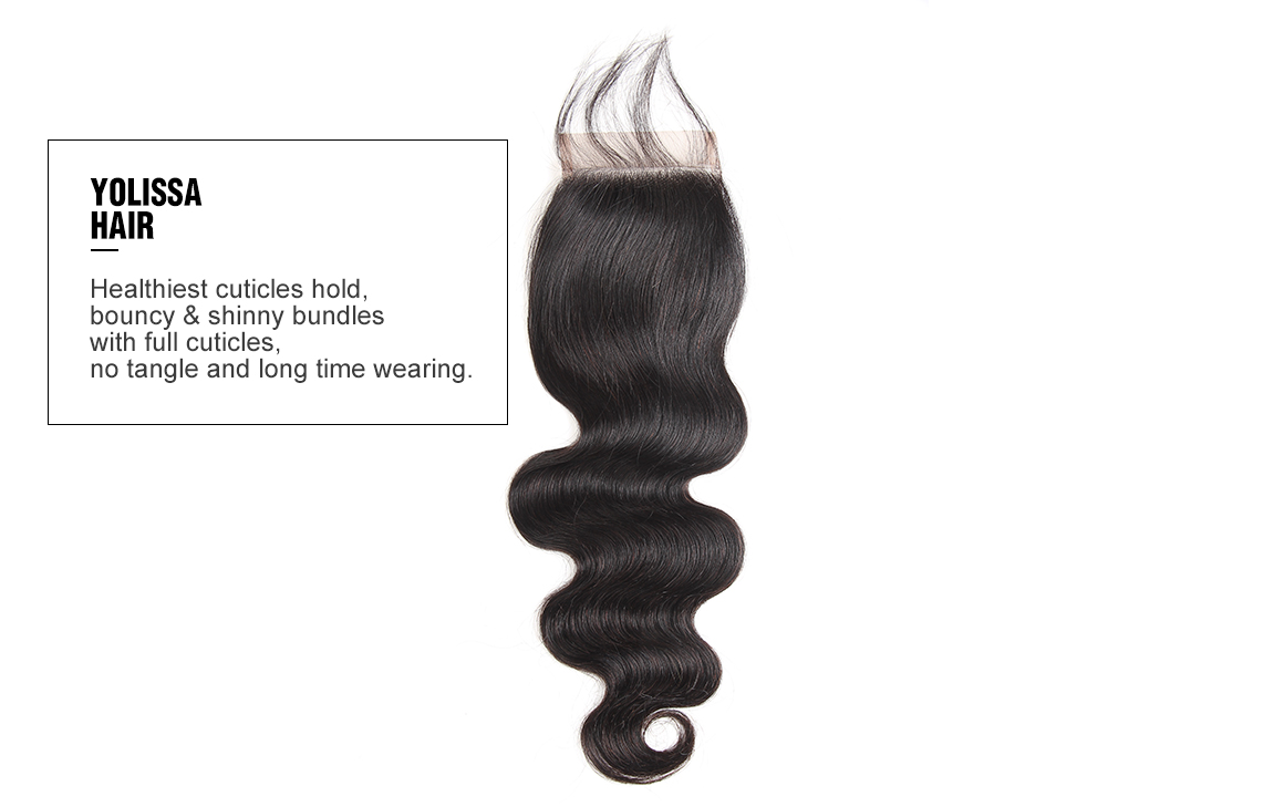 human hair body wave lace closure with bundles