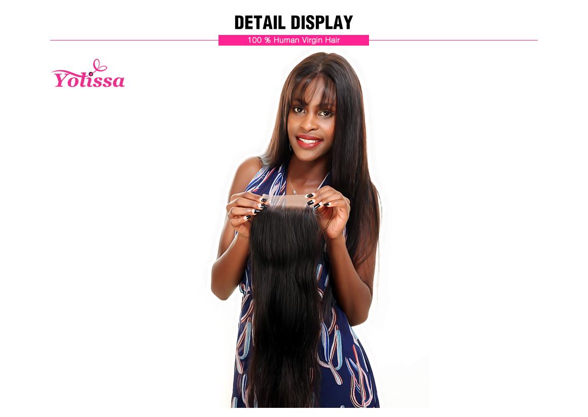 Yolissa Straight Virgin Hair 4*4 Lace Closure Natural Black Brazilian Hair