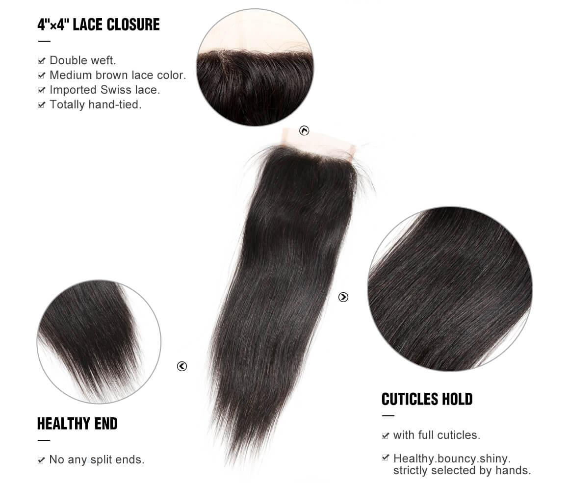 Yolissa Brazilian Straight Virgin Hair 4*4 Lace Closure Natural Black Brazilian Hair