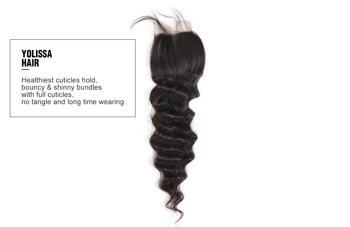 brazilian virgin hair loose deep wave bundles with lace closure